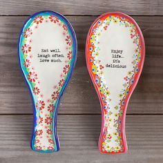 Kitchen Gifts | Natural Life #ceramiccafe These hand painted, ceramic spoon rests are the perfect gift for your favorite cook! Colorful floral designs and cute sentiments will fill any kitchen with lots of color and love! #ceramiccafe