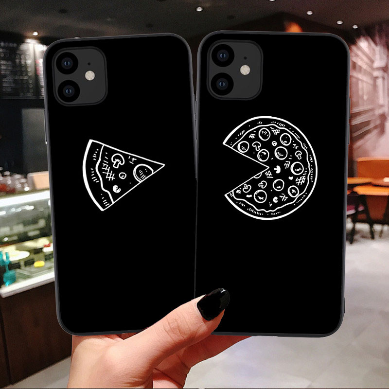 Funny Pizza Best Friends Phone Case For Iphone 11 Pro Max X Xr Xs Max 7 8 6 6s Plus Black Couple Soft Tpu Back Cover Funda Shell In Half Wrapped Cases Friends