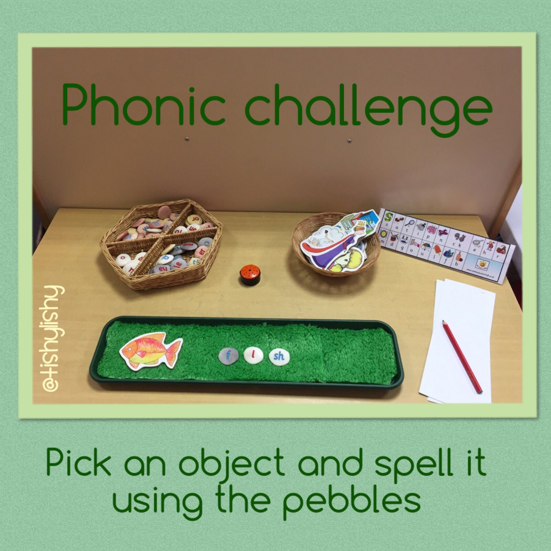 Phonic challenge - spell with the pebbles   Phonics   Pinterest   Kind
