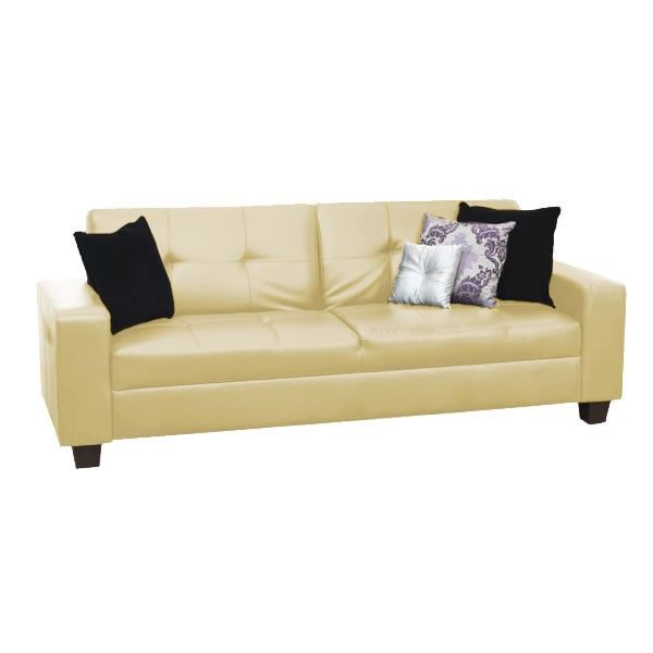 Furniture Link Gemona Ivory Leather Sofa Bed | Leather Sofa Beds ...