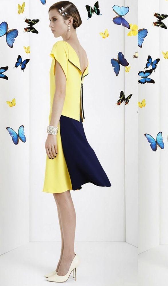 GORGEOUS Vionnet Paris colorblock crepe exposed zipper split back yellow dress!