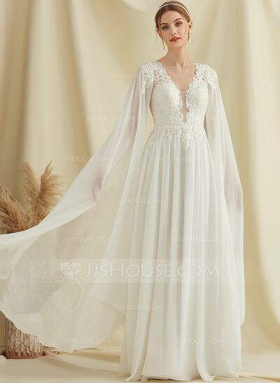 [US$ 160.00] A-Line V-neck Floor-Length Chiffon Lace Wedding Dress With Sequins