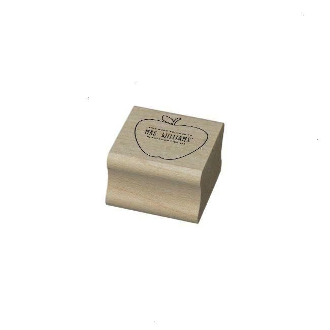 Library Apple Rubber StampTeacher's Classroom Library Apple Rubber Stamp  Jasmine Rubber Stamp  Tri