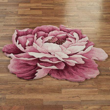 Julia Pink Peony Flower Shaped Round Rugs Decor