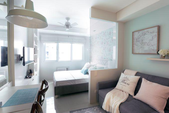 A 22sqm studio unit reminiscent of a posh hotel room for Studio condo design ideas