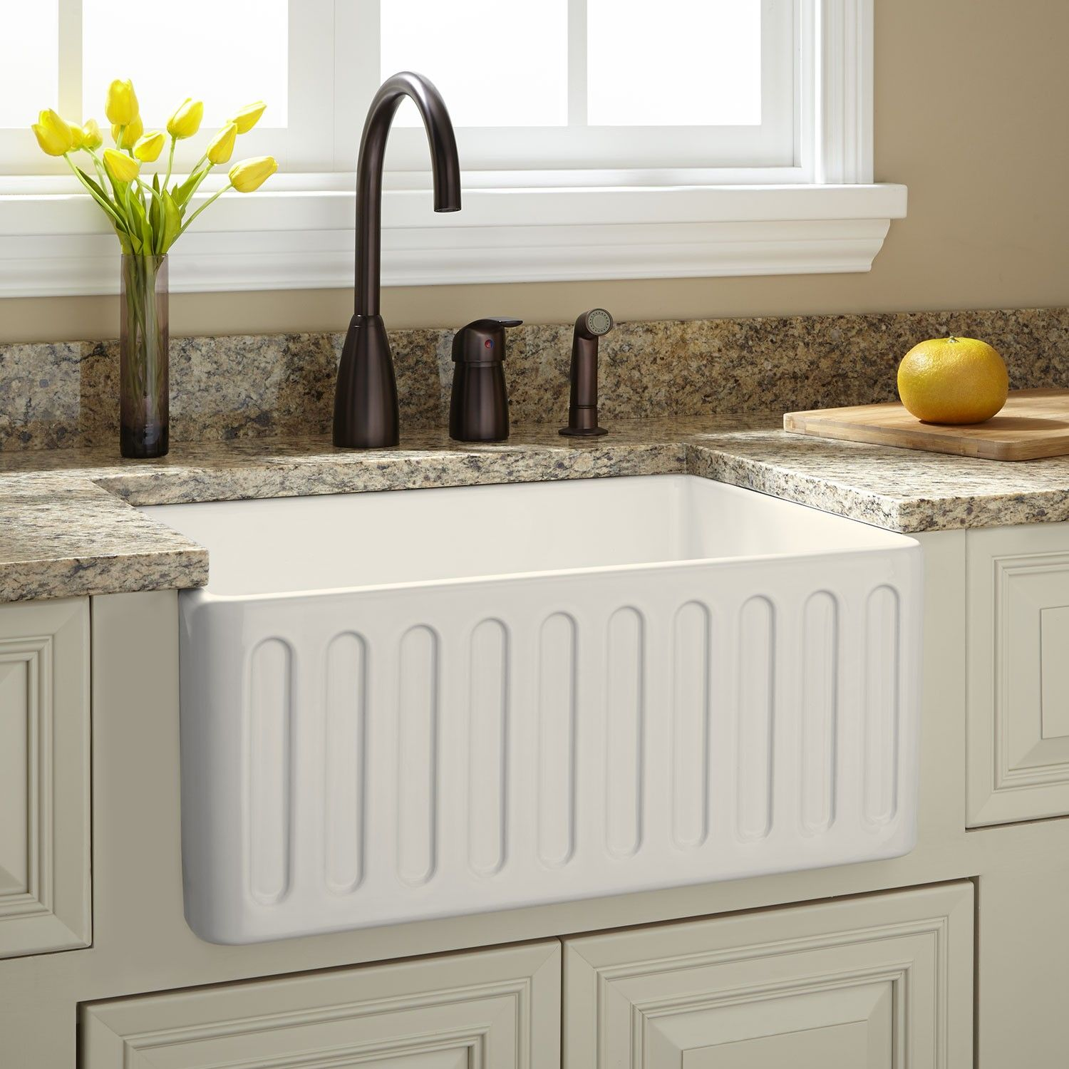 24 Northing Fireclay Farmhouse Sink Fluted Apron Biscuit Kitchens Fireclay Farmhouse Sink Sink Kitchen Hardware