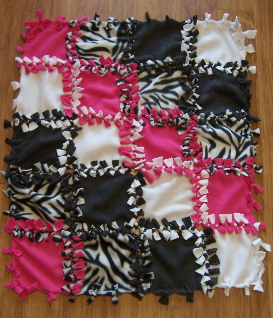 PERSONALIZEDMONOGRAMCUSTOM Hot PinkZebra No Sew Tie Baby Blanket