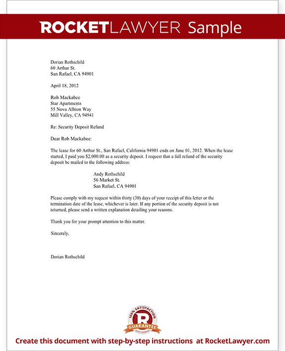 Tenant Security Deposit Refund Letter Template With Sample Irs