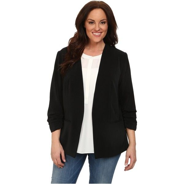 DKNYC Plus Size Open Front Ruched Sleeve Blazer Women's Jacket, Black ($75) ❤ liked on Polyvore featuring outerwear, jackets, blazers, black, black blazer, open front blazer, womens plus size blazers, womens plus size jackets and black collarless blazer