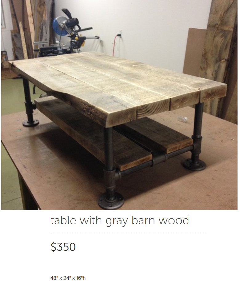 Rustic Industrial Pipe Coffee Table With Grey Barn Wood
