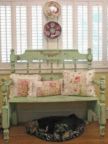 Fantastic Love This Idea For An Old Twin Bed Shabby Chic Furniture Andrewgaddart Wooden Chair Designs For Living Room Andrewgaddartcom