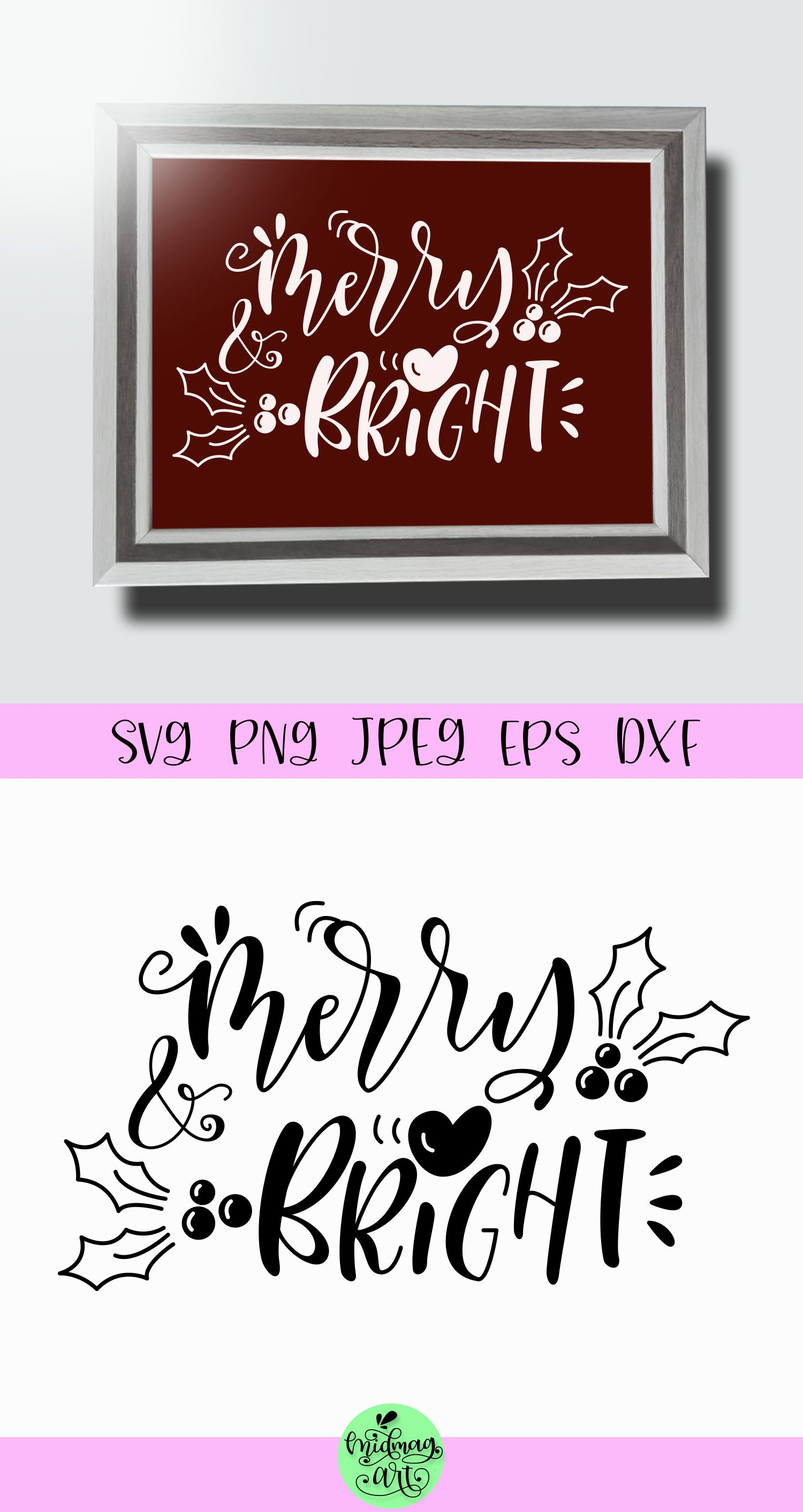 Merry and bright svg, christmas svg (With images