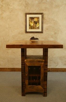Riverwoods Reclaimed Barnwood Pub Table with Cabinet   Pub ...