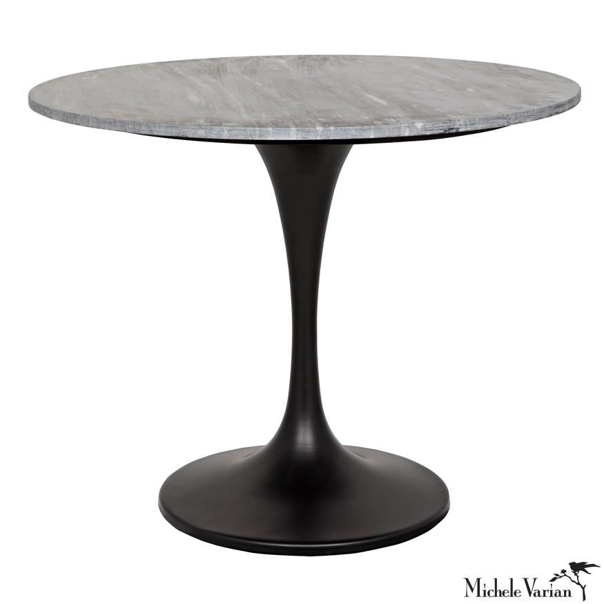 Round Gray Quartz Top With Black Base Stem Bistro Table Tables Table Cafe Tables Round Dining Table