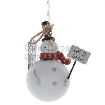 Hanging Tin Snowman With Spring 8.5cm @ gainsboroughgiftware.com