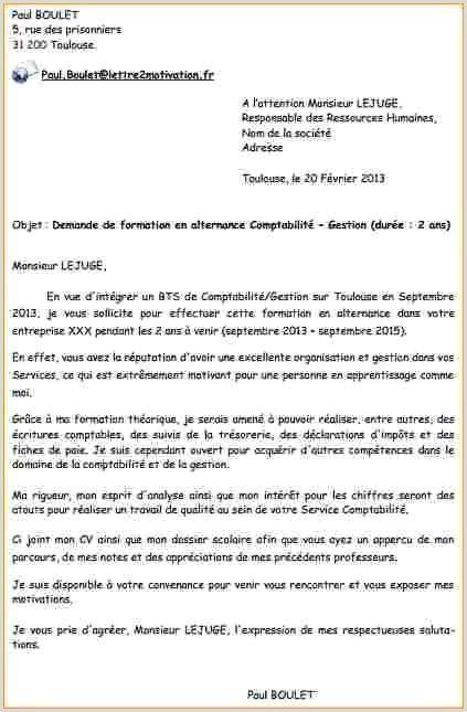 exemple lettre de motivation bts comptabilité et gestion ...