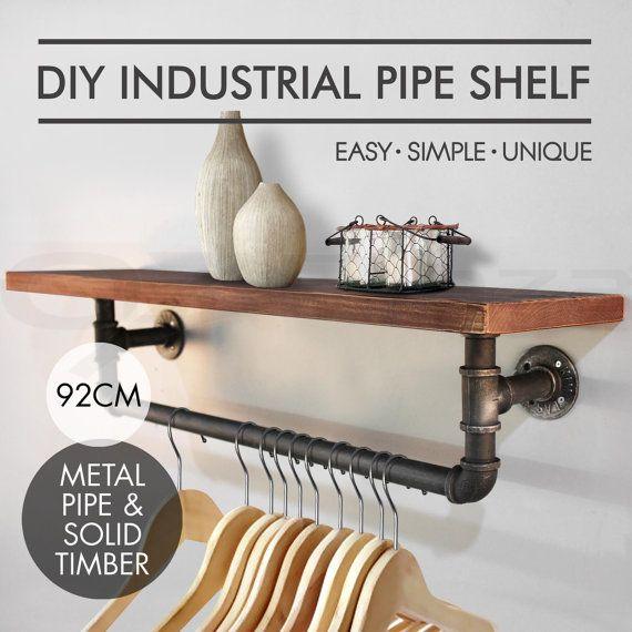 new rustic industrial diy pipe shelf vintage von japormsetsyoutlet construction ideas. Black Bedroom Furniture Sets. Home Design Ideas