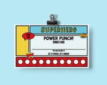Superhero Kids Reward Card Printable - Personalized Punch Card - Chore Card -  Superhero Party - Superhero Classroom Printables - Behavior