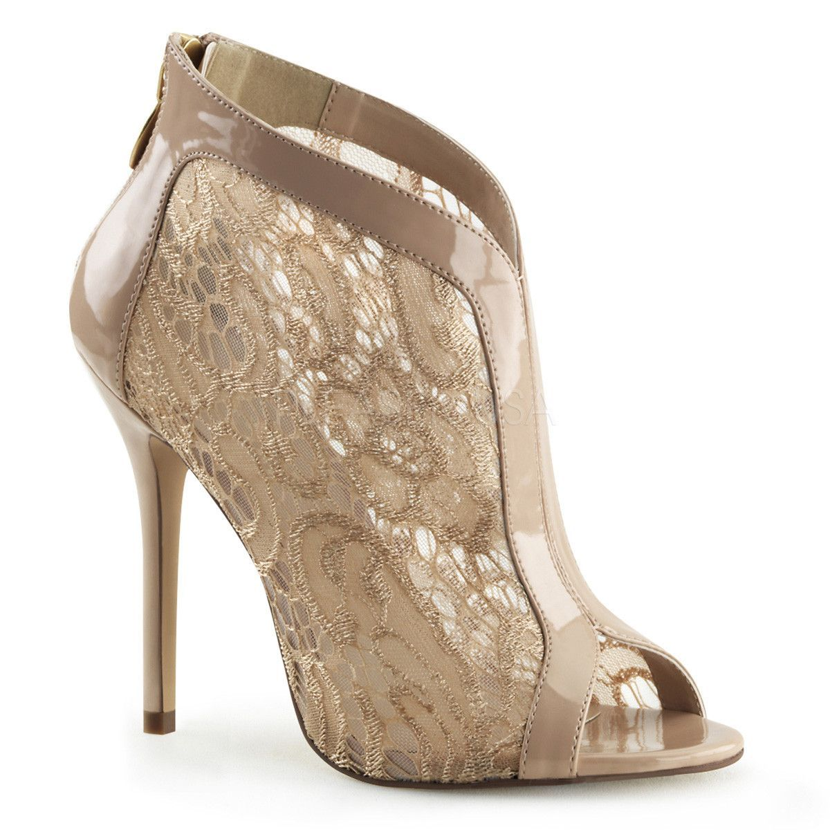 Nude Fabulicious High Heel Pumps w/ Lace Overlay