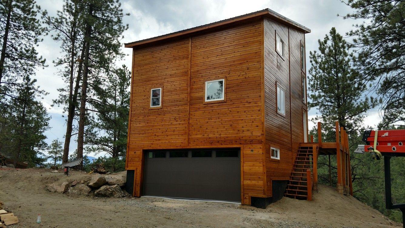 This Beautiful Modern Style Cedar Cabin In Bailey Co Garage
