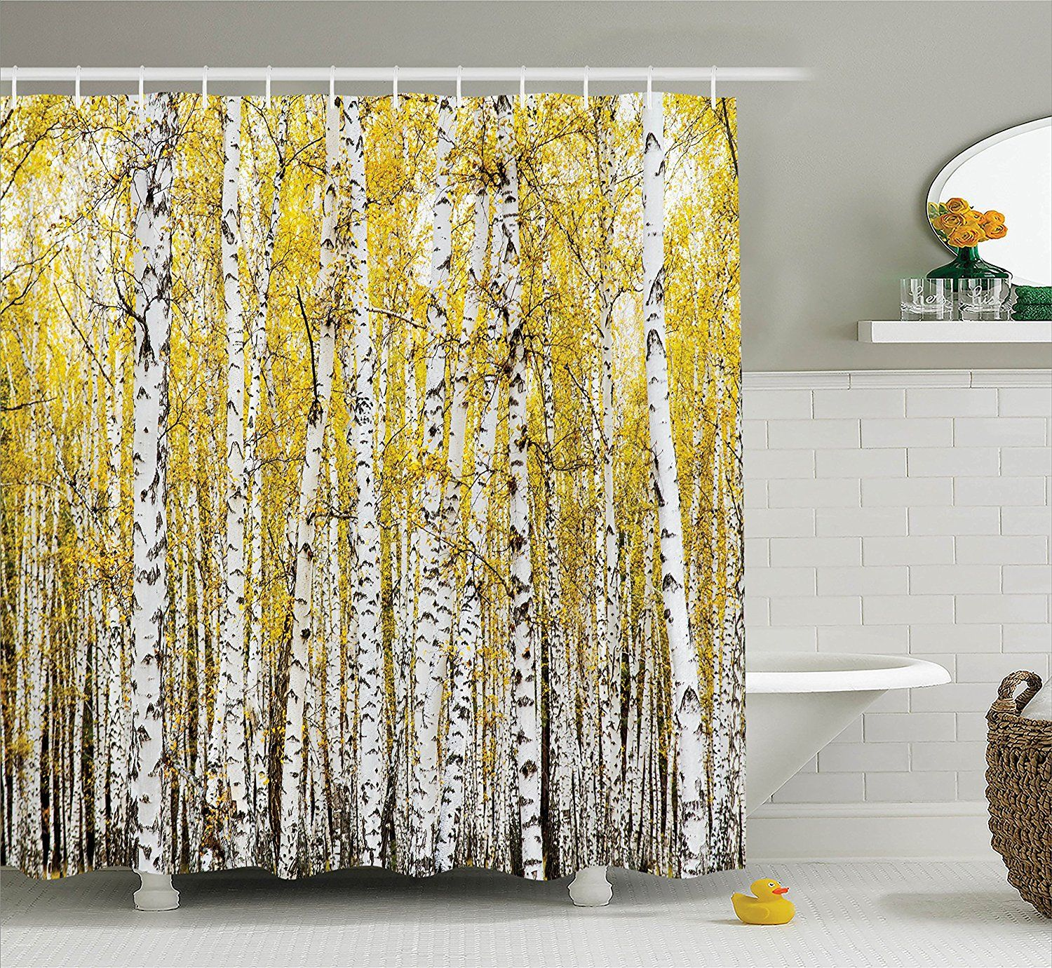 Amazon Farm House Decor Shower Curtain Set By Ambesonne Autumn Birch Forest Golden Leaves Woodland October Seasonal Nature Picture
