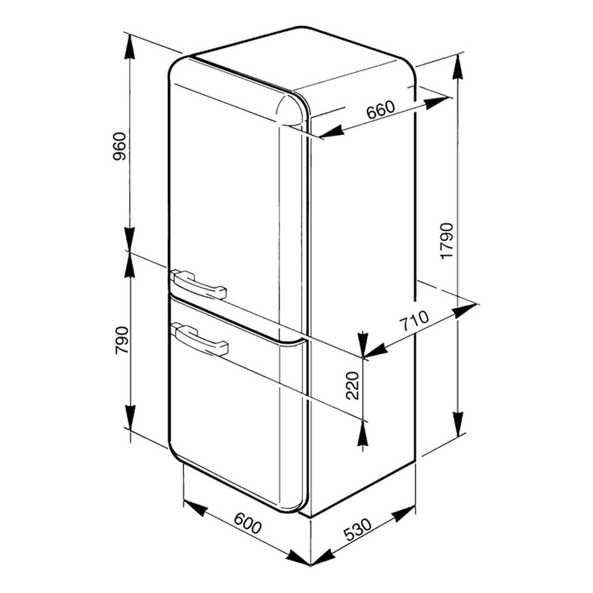 Smeg Fab32yve Dimensions The Dimensions Of The Fridge
