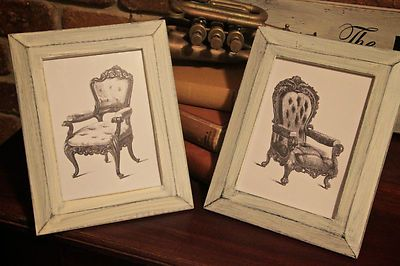 FRENCH PROVINCIAL SHABBY CHIC RUSTIC PICTURE PHOTO FRAMES, FRENCH CHAIRS GRAPHIC