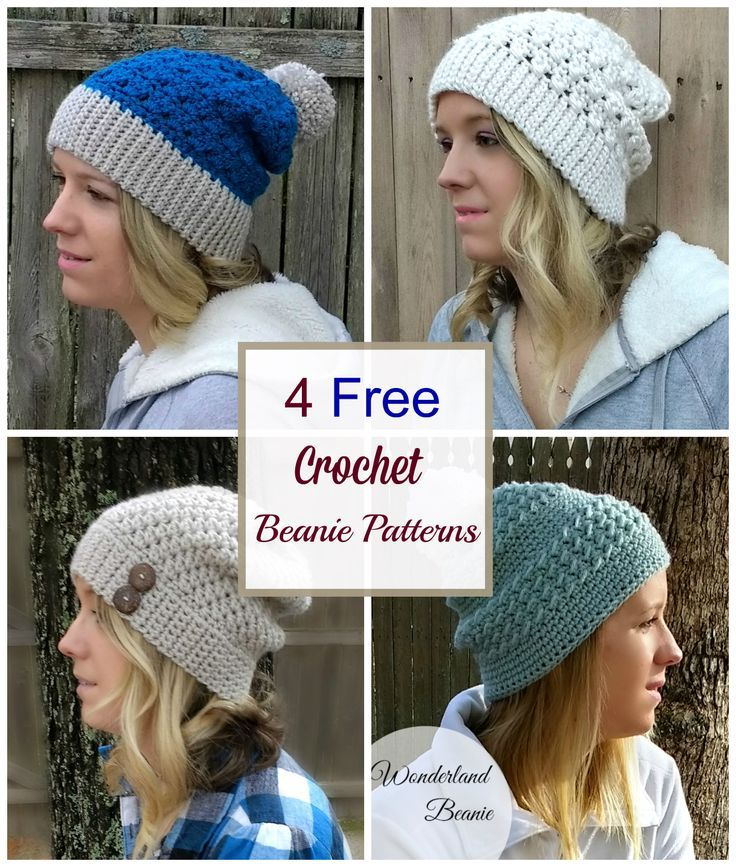 4 Easy and Free Crochet Beanie Patterns | Gorros, Ganchillo y ...