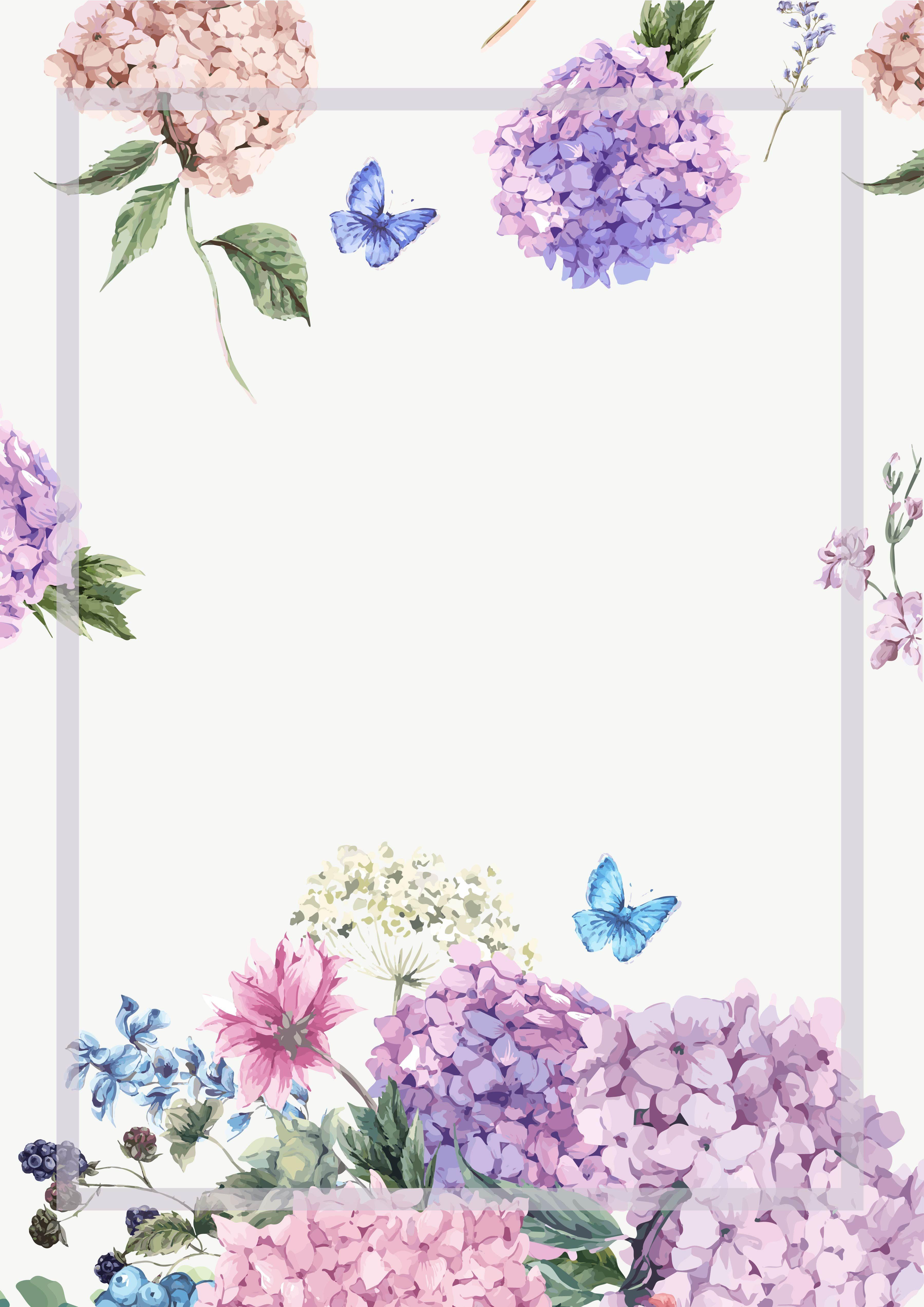 Elegant Watercolor Flowers Frame Background Flower