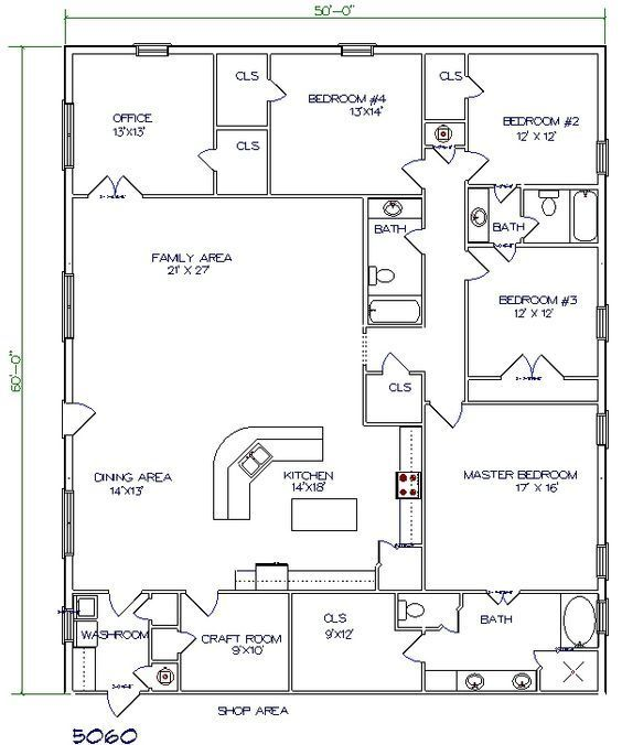 Barndo Floor Plan 5 Bedroom 3000 Sq Ft Pole Barn House Plans Barndominium Floor Plans Barndominium Plans