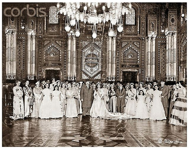 King Farouk & Bride Posing with Family at Wedding, By Corbis by Tulipe Noire, via Flickr