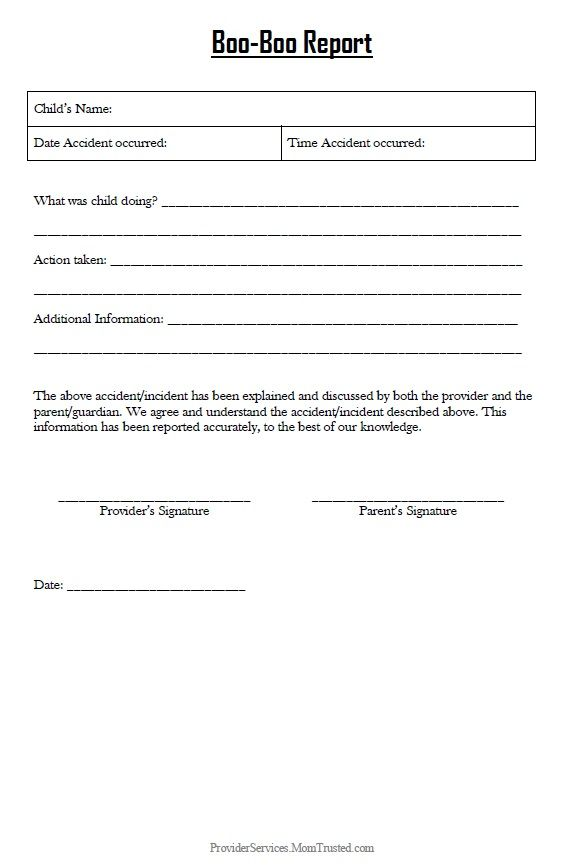 incident report form child care  Click on the form to