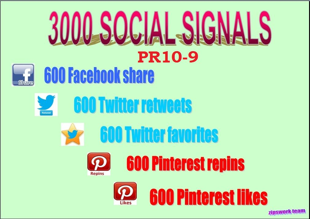 Zipswork Give 3000 Social Signals Mega Mix With Pr10 To Pr9 On