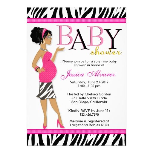 Chic Glam Modern Mom Pink Zebra Baby Shower Personalized Invitation