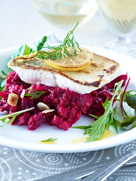 Photo of Pikeperch on beetroot mashed potatoes Recipe DELICIOUS