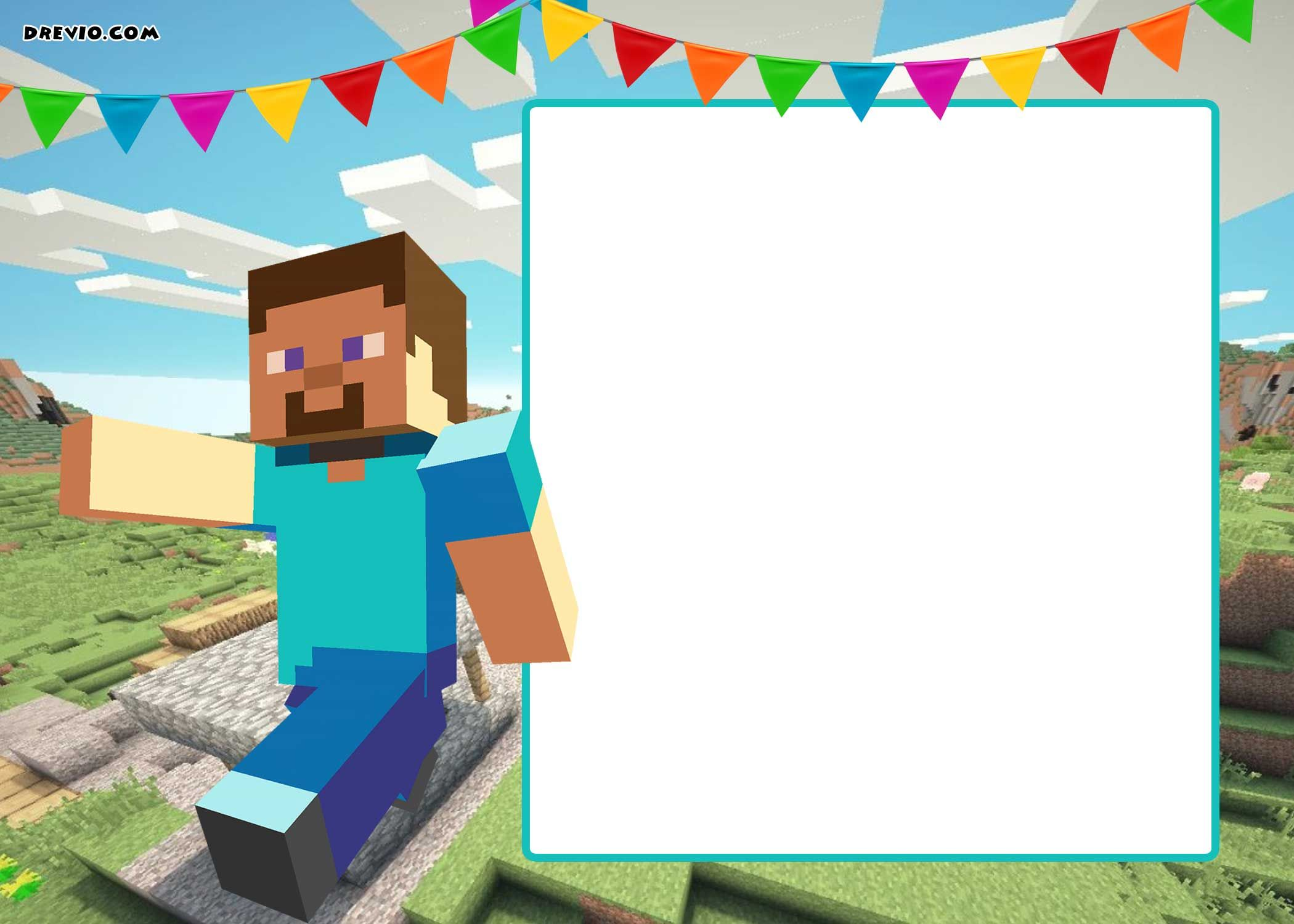 Get Free Printable Minecraft Birthday Invitation Template  Free