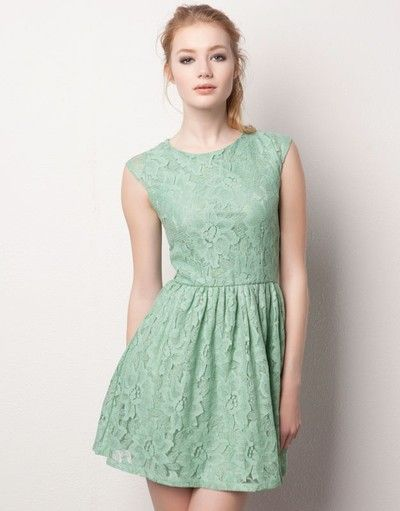Mint Lace Dress Vestidos Pull And Bear Green Dresses