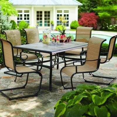 499 For The Set Hampton Bay Belleville 7 Piece Patio Dining FCS80198ST