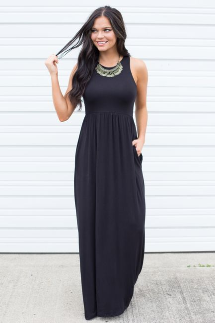 Shop Our Racerback Maxi Dress Featuring An Elastic Waistband And