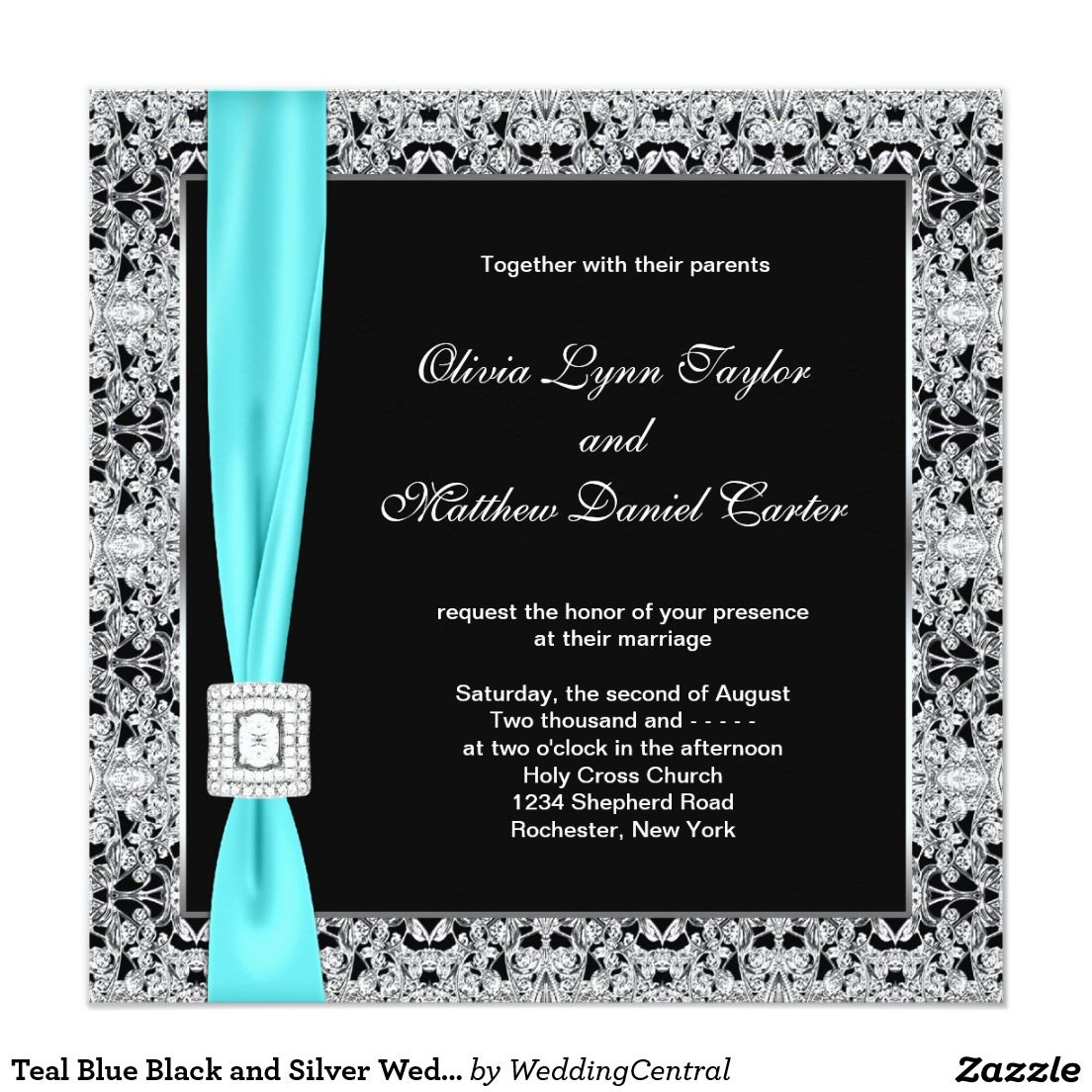 Teal Blue Black and Silver Wedding