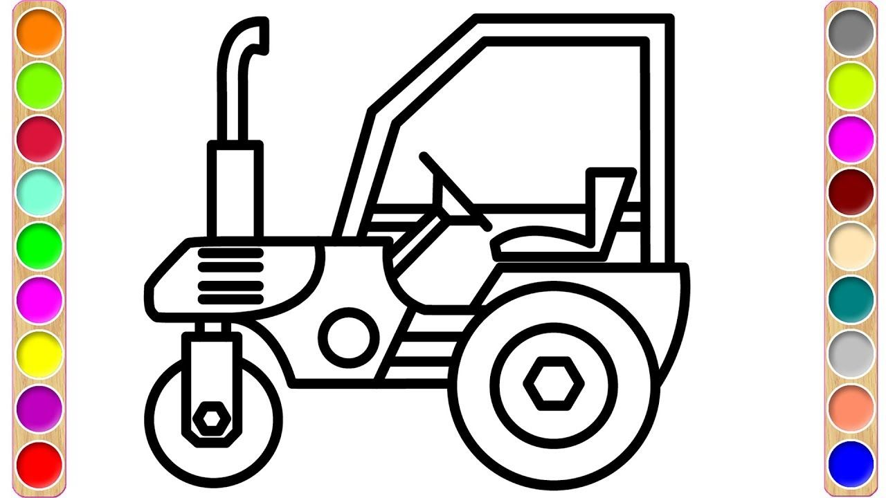 How To Draw Road Roller Coloring Pages Colors For Kids With Constructio