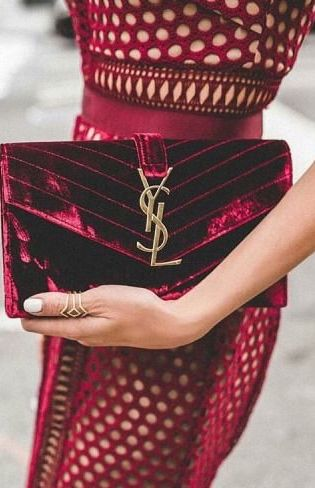 Burgundy velvet YSL Clutch. I love the rich color e079ffd38b1fa