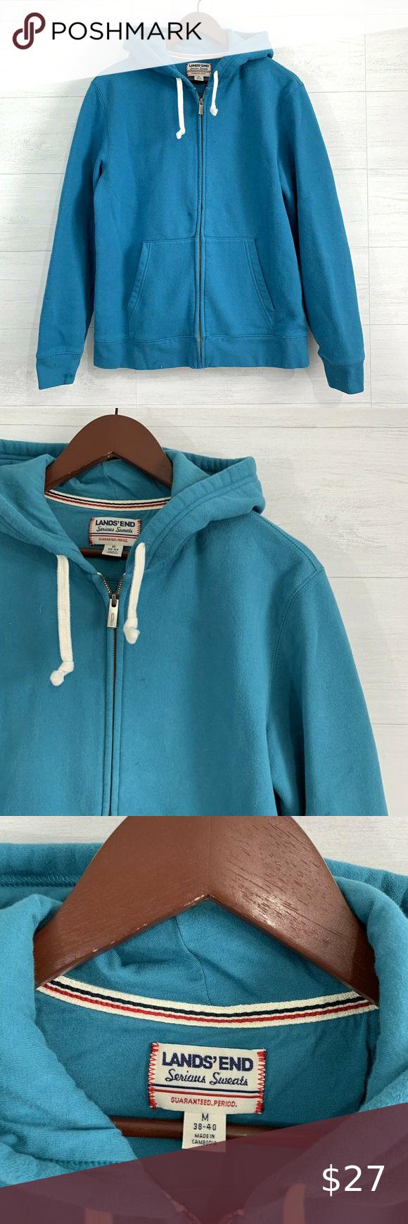 Lands End Turquoise Blue Full Zip Up Hoodie Fleece Sweater Zip Ups Hoodies [ 1740 x 580 Pixel ]