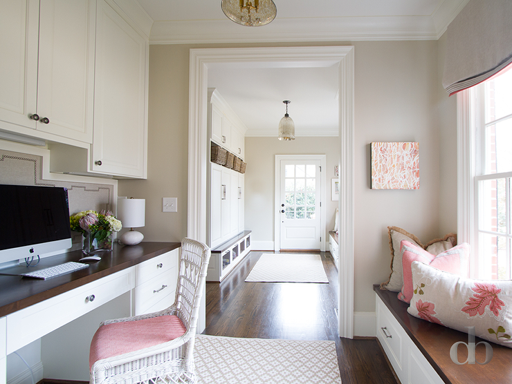 Amazing Office Is Situated Next To Mudroom Built Ins