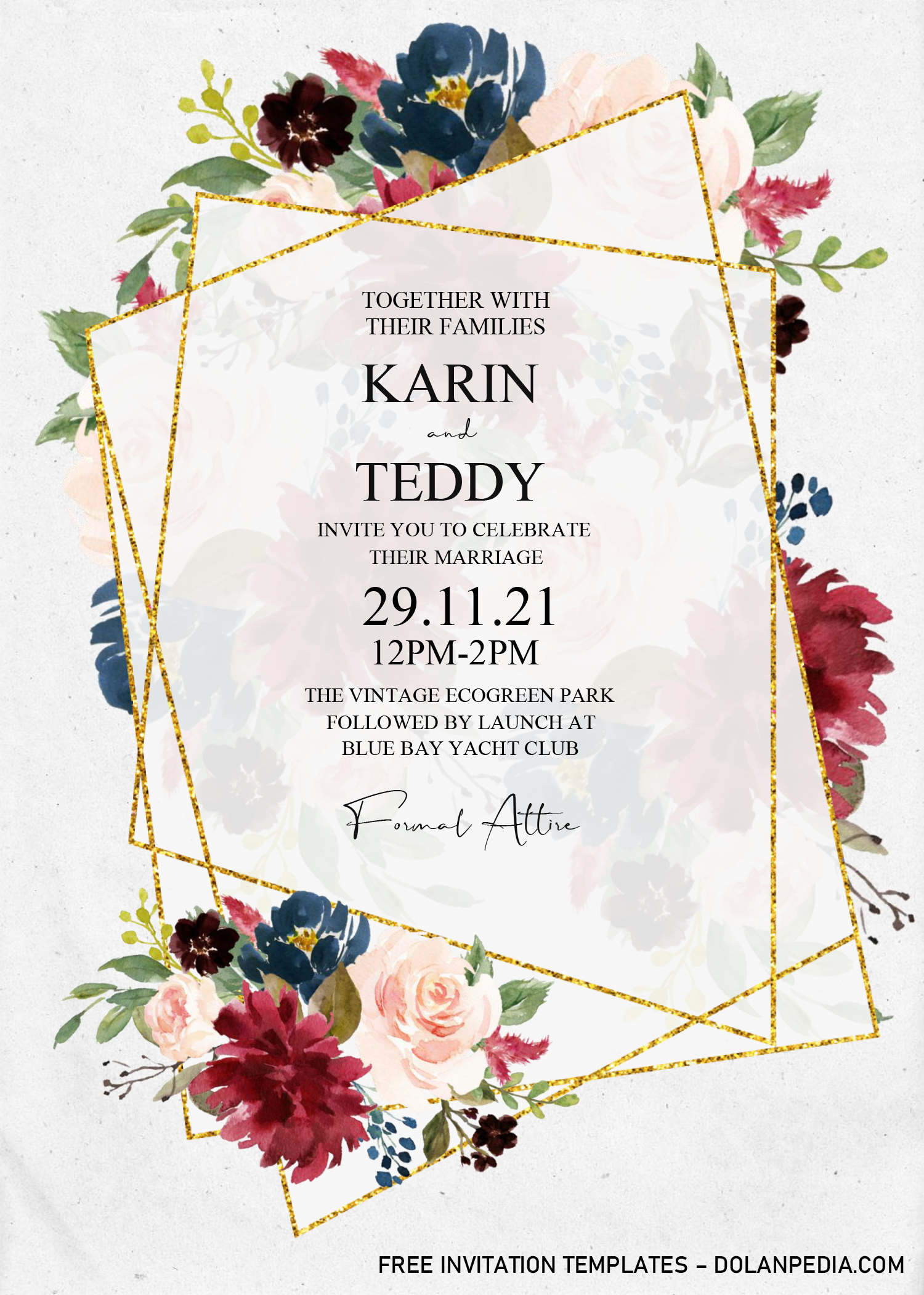 Floral And Gold Invitation Templates Editable With Ms Word Free Printable Invitations Templates Gold Invitations Invitation Template - ms word invitation templates free download