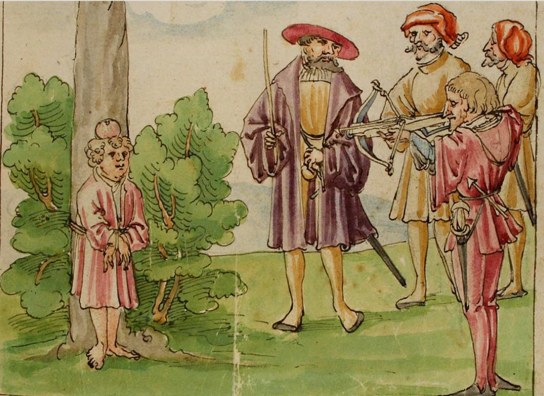 """Gessler nötigt Tell, mit der Armbrust auf den Apfel auf dem Kopf seines Sohnes zu schießen. Der """"zweite Pfeil"""" steckt im Gürtel."""