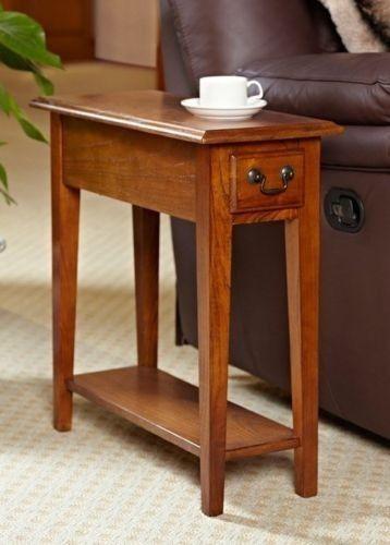 oak mission shaker style antique vintage home side end table shelf drawer decor