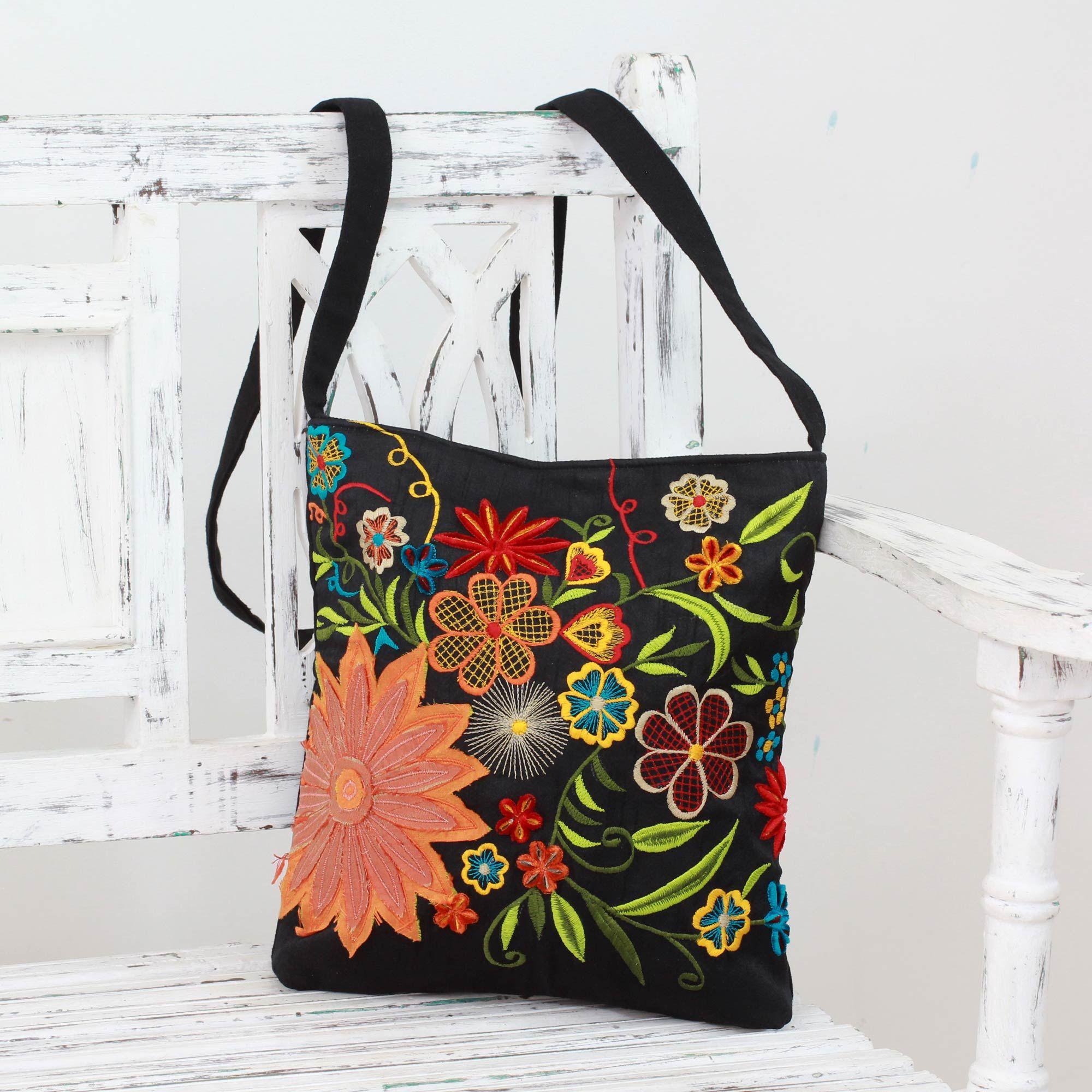 Novica Embroidered cotton shoulder bag, Happy Paradise