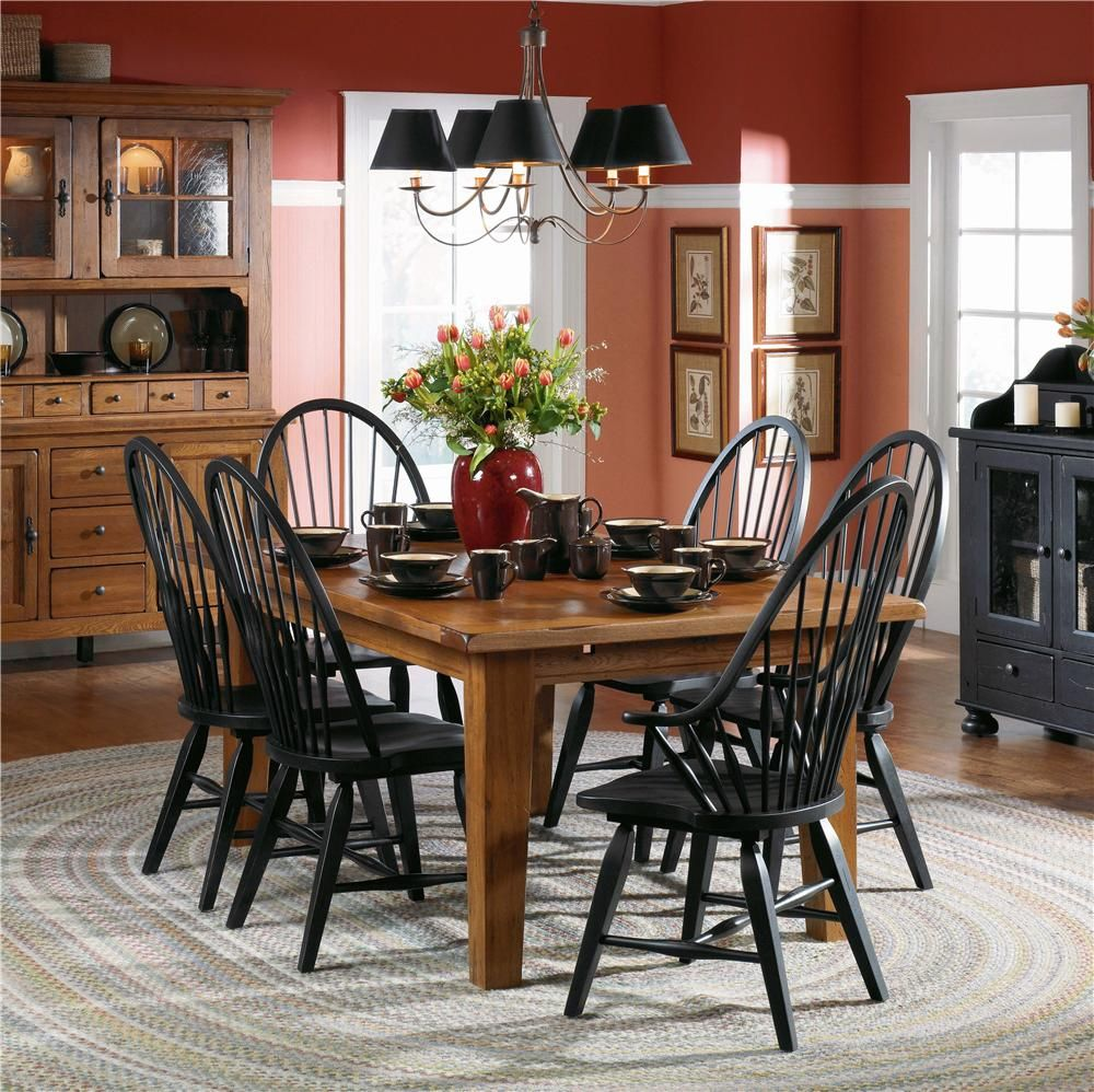 Image Detail For  Elegant Traditional Dining Room With Black Furniture  Decoration .