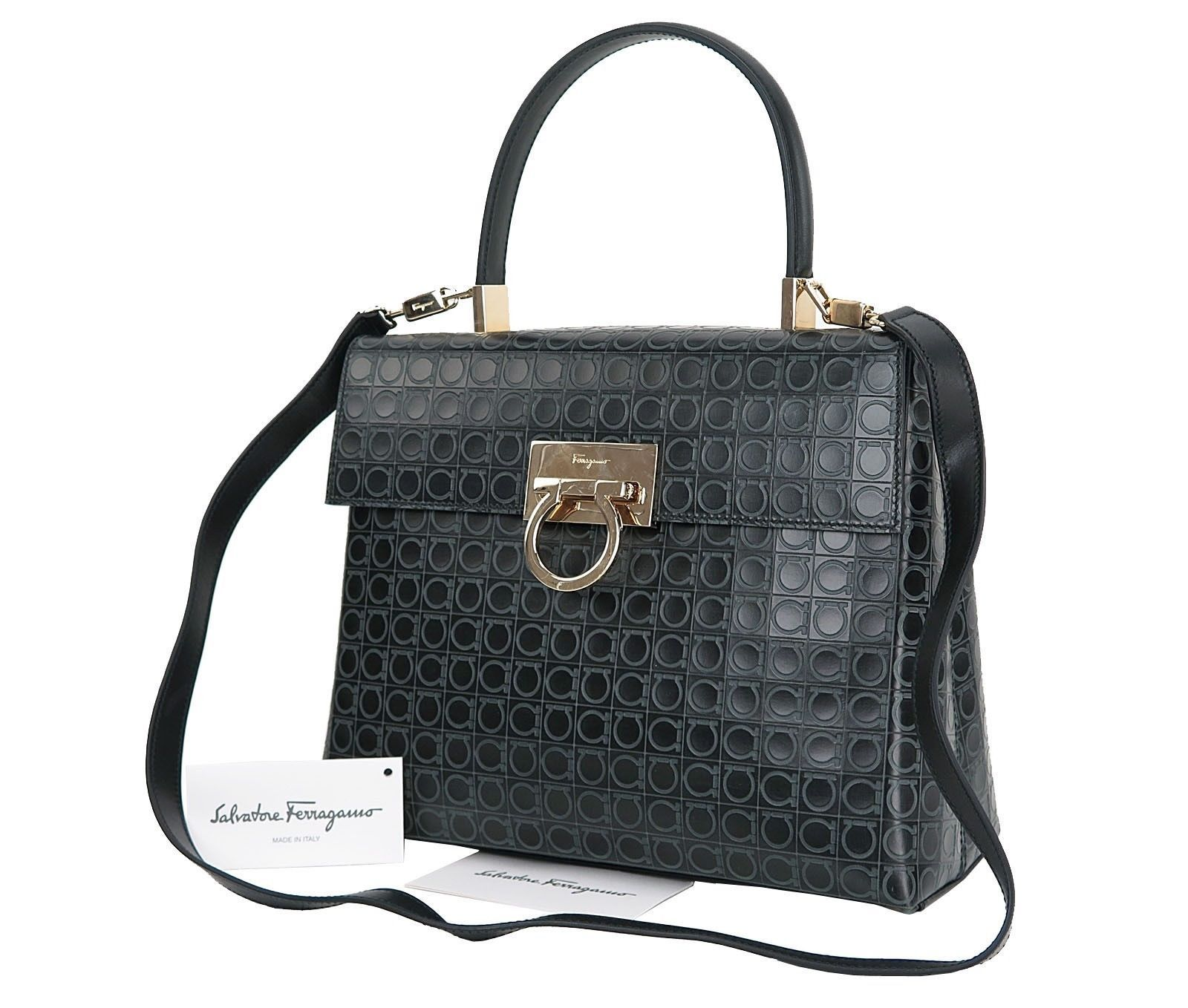 Auth SALVATORE FERRAGAMO Gancini Black Leather 2-Way Shoulder Hand Bag   26180 dd53143ad537d